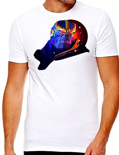 cheap Men's Clothing-Men's Unisex Tee T shirt Hot Stamping Graphic Prints Character Plus Size Print Short Sleeve Casual Tops Cotton Basic Designer Big and Tall White