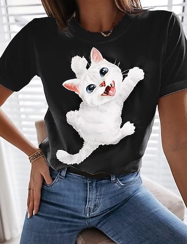 cheap Women's Clothing-Women's 3D Cat Painting T shirt Cat 3D Animal Print Round Neck Basic Tops Black Orange Gray