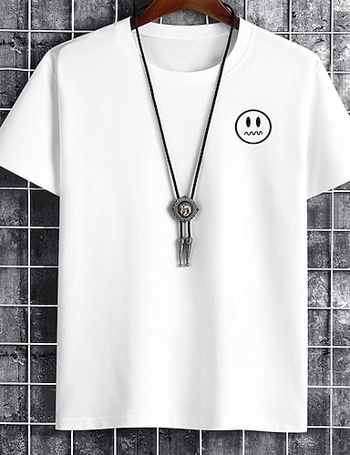 cheap Graphic Tees-Men's Unisex Tee T shirt Hot Stamping Graphic Prints Emoji Face Plus Size Print Short Sleeve Casual Tops Cotton Basic Fashion Designer Big and Tall White Black Khaki