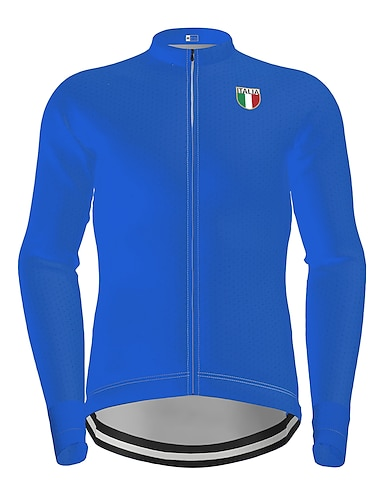 cheap Sports & Outdoors-21Grams Men's Long Sleeve Cycling Jersey Winter Polyester Black Blue Solid Color Bike Jersey Top Mountain Bike MTB Road Bike Cycling Quick Dry Back Pocket Sports Clothing Apparel / Micro-elastic