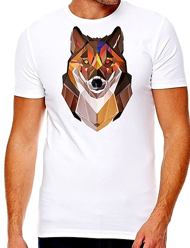 cheap Men's Clothing-Men's Unisex Tee T shirt Hot Stamping Graphic Prints Wolf Plus Size Print Short Sleeve Casual Tops Cotton Basic Designer Big and Tall White
