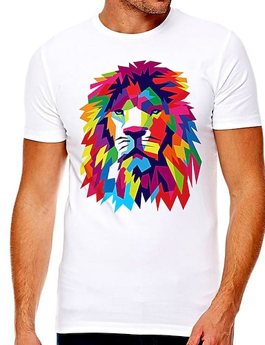 cheap Graphic Tees-Men's Unisex Tee T shirt Hot Stamping Graphic Prints Lion Plus Size Print Short Sleeve Casual Tops Cotton Basic Designer Big and Tall White