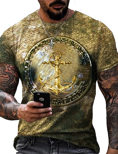 cheap Men's Clothing-Men's Tee T shirt Shirt 3D Print Graphic Prints Print Short Sleeve Daily Tops Cotton Casual Designer Big and Tall Round Neck Blue Gold Silver / Summer