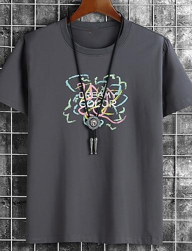 billige Grafiske Tees-Herre Unisex T-skjorter T skjorte Varm stempling Grafiske trykk Bokstaver Store størrelser Trykt mønster Kortermet Avslappet Topper Bomull Grunnleggende Mote Designer Stor og høy Hvit Svart Kakifarget