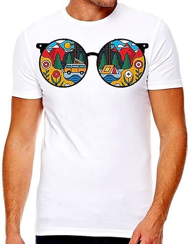 billige Grafiske Tees-Herre Unisex T-skjorter T skjorte Varm stempling Grafiske trykk Tre Briller Store størrelser Trykt mønster Kortermet Avslappet Topper Bomull Grunnleggende Designer Stor og høy A B
