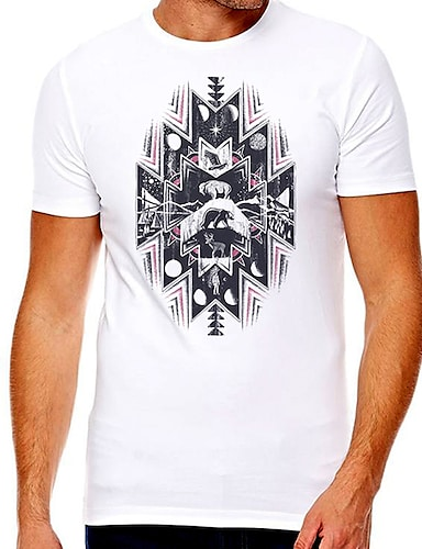 cheap Graphic Tees-Men's Unisex Tee T shirt Hot Stamping Graphic Prints Plus Size Print Short Sleeve Casual Tops Cotton Basic Designer Big and Tall White