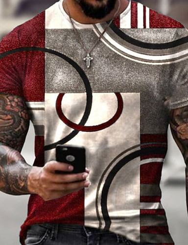 cheap Men's Clothing-Men's Tee T shirt Shirt 3D Print Geometric 3D Graphic Prints Print Short Sleeve Daily Tops Casual Designer Big and Tall Round Neck Blue Red Black / Summer
