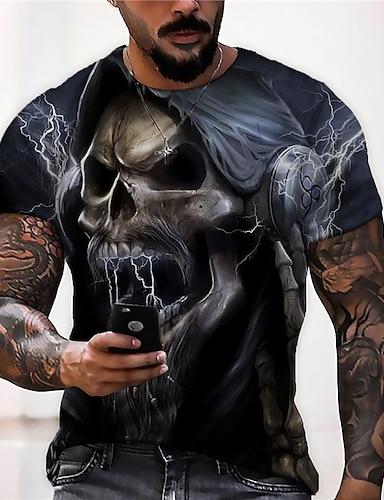 cheap Men's Clothing-Men's Unisex Tee T shirt Shirt 3D Print Graphic Prints Skull Print Short Sleeve Daily Tops Casual Designer Big and Tall Black