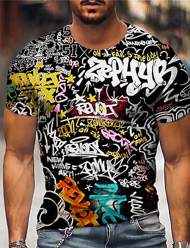 cheap Men's Clothing-Men's Unisex Tee T shirt Shirt 3D Print Graphic Prints Letter Print Short Sleeve Daily Tops Casual Designer Big and Tall Black / White