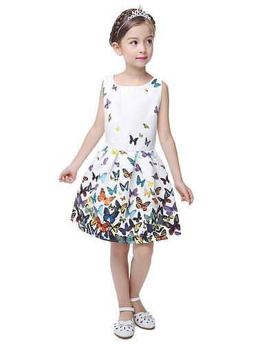 abordables Vêtements pour Filles-Robe pour petites filles - Robe décontractée à fleurs princesse papillon blanche sans manches pour l'été 5-12 ans