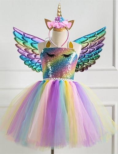 abordables Vêtements pour Filles-enfants petites filles robe 3pcs licorne princesse arc-en-ciel coloré fête tutu robes d'anniversaire avec aile et bandeau paillettes licou violet or argent jolies robes 2-8 ans