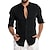cheap Men's Shirts-Men's Shirt Solid Color Long Sleeve Beach Tops Cotton Lightweight Casual Breathable White Black Blue