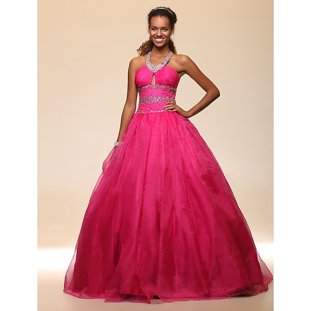 Ball Gown Open Back Quinceanera Prom Formal Evening Dress Halter Neck Sleeveless Floor Length Organza Satin with Beading Draping 2021