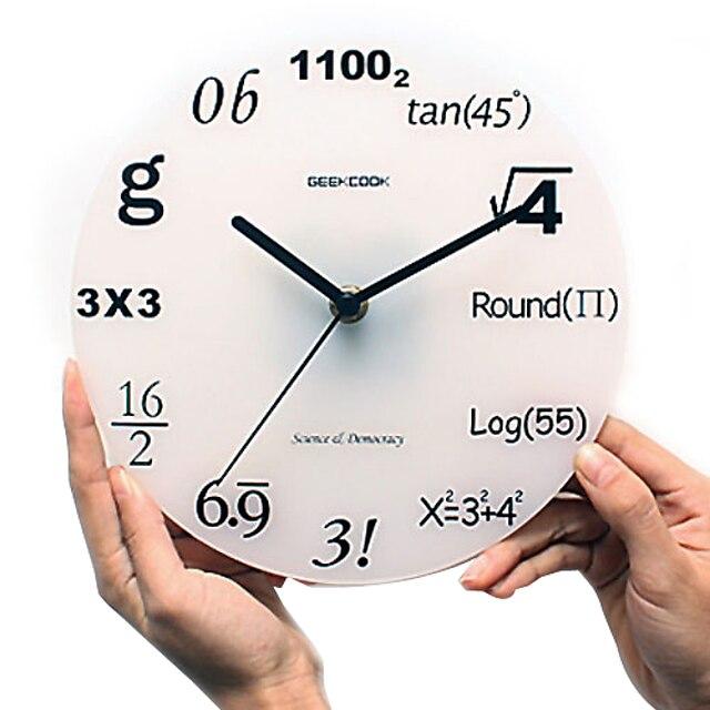 Mathematical Numbers Pattern Analog Wall Clock (White, 1xAA)