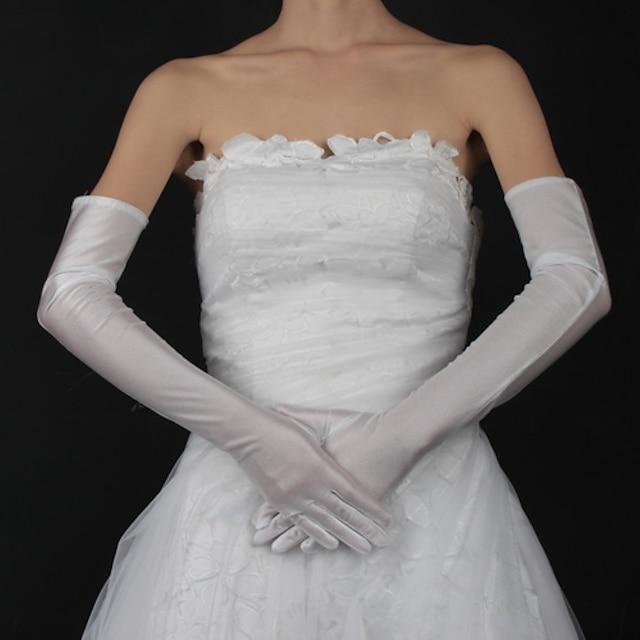 Bumbac / Satin Lungime Încheietură / Lungime Opera Mănușă Charm / Stilat / Mănuși de Mireasă Cu Broderie / Solid
