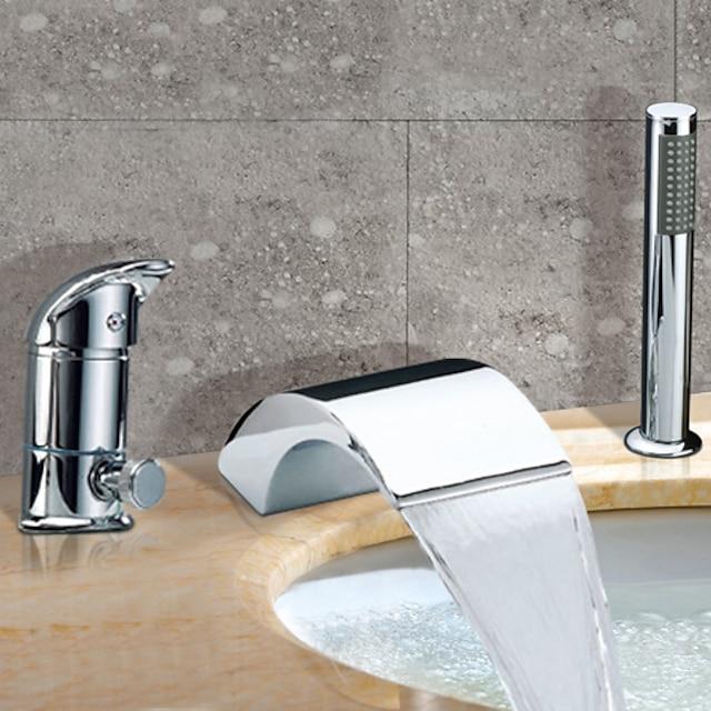 paslanmaz çelik roma küvet küvet musluk, şelale yaygın çağdaş krom seramik vana banyo duş bataryası musluklar sıcak ve soğuk anahtarı