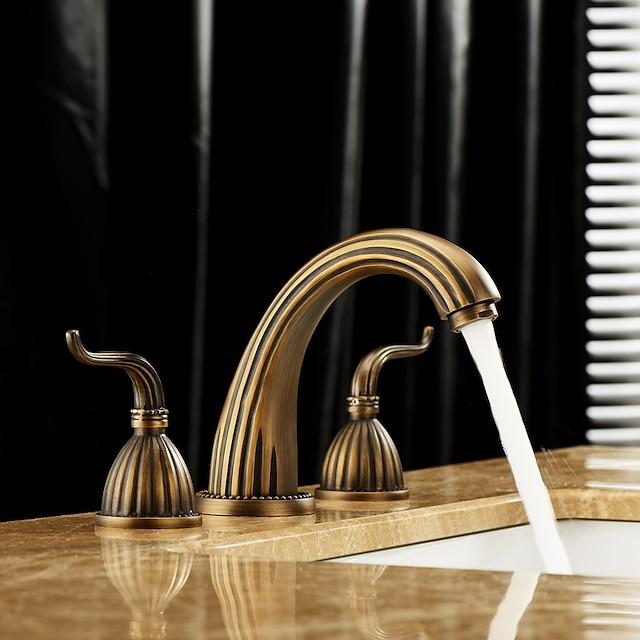 Μπάνιο βρύση νεροχύτη - Εκτεταμένο Πεπαλαιωμένος Ορείχαλκος Αναμεικτικές με ξεχωριστές βαλβίδες Δύο λαβές τρεις οπέςBath Taps / Ναι / Δύο Λαβές