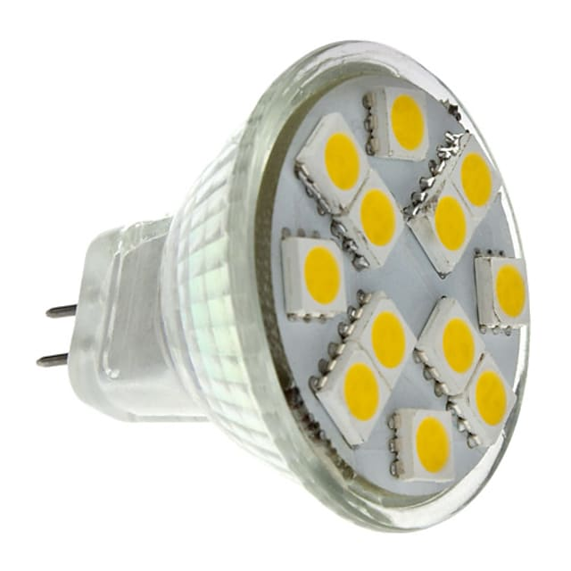 2 W LED Spotlight 160 lm GU4 MR11 12 LED Beads SMD 5050 Warm White 12 V