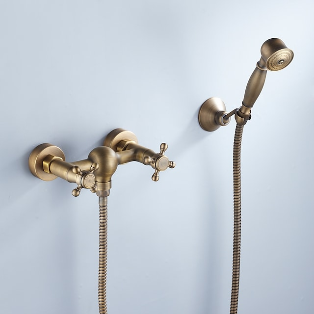 Shower Faucet Set,Rainfall Artistic Retro Antique Brass Shower System Ceramic Valve Bath Shower Mixer Taps with Hot and Cold Water
