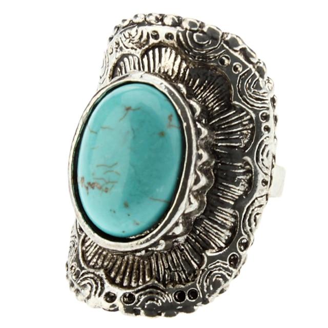 dámská tyrkysová geometrický arc stříbrný prsten