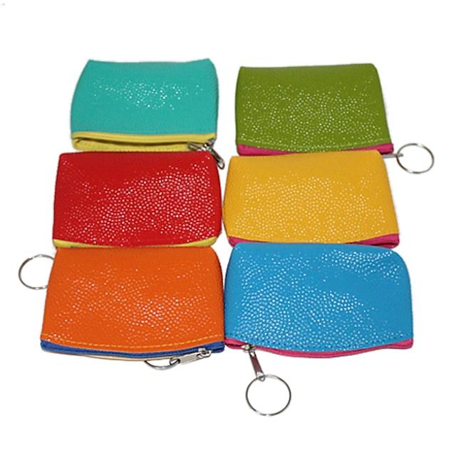 Leather Portable Zipper Lichee Pattern Candy Color Change Purse(Random Colors)