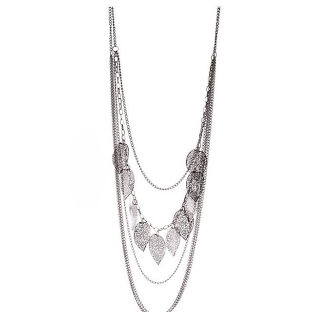 Women's Vintage Leaf Decorated Long Necklace