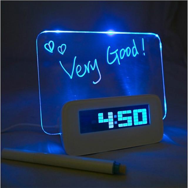 placa de mensagem azul luz despertador digital com 4 usb hub 1pc (usb)