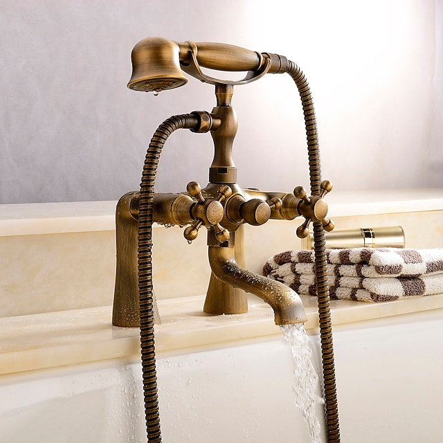 Antique Brass Wall Mounted  Shower Faucet, Two Handles Two Holes Bathtub Shower Mixer Taps Contain with Handshower and Valve and Hot/Cold Water