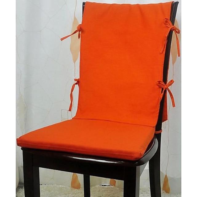 Modern Style 100% Katoen Novelty Oranje Solid Stoel Pad en Stoel Back Set