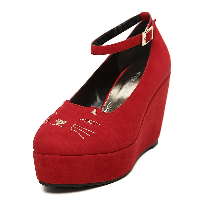 Nice Suede Wedge Heel with Buckle Cat Style Casual Shoes(More Colors)