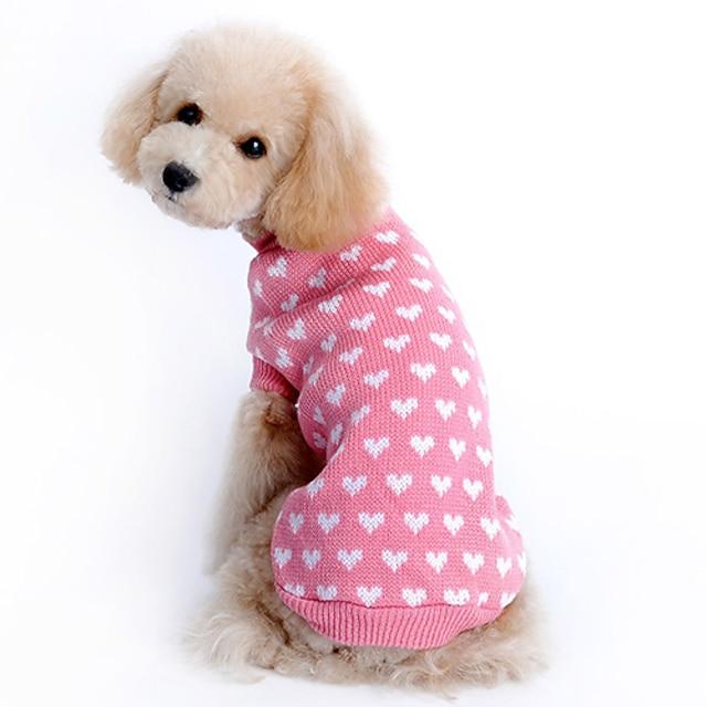 щенок собака кошка вязаный свитер старинный клетчатый свитер розовое сердце любви дышащий вязаный крючком свитер рубашка пуловерный джемпер для маленьких домашних животных щенок котенок кролик зима