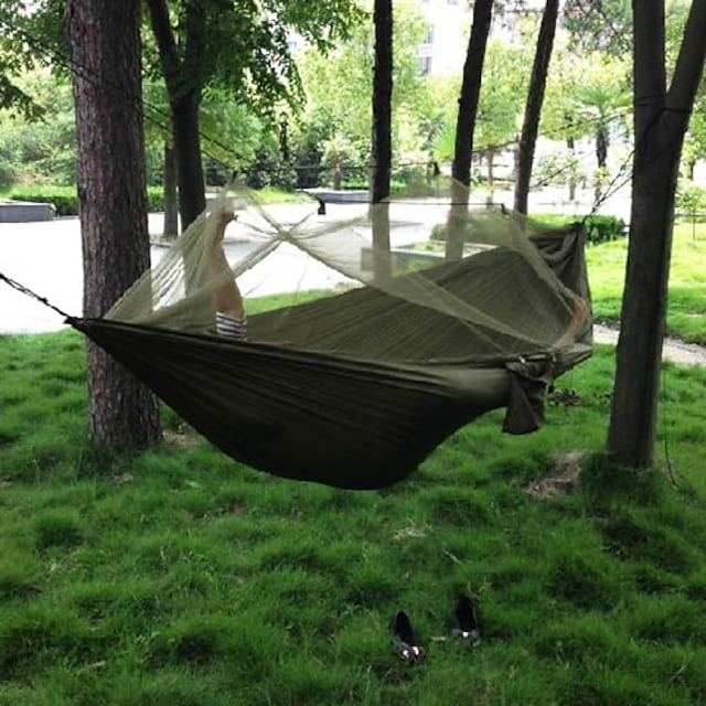 Camping Hammock with Mosquito Net Double Hammock Outdoor Portable Anti-Mosquito Ultra Light (UL) Dust Proof Quick Dry Parachute Nylon with Carabiners and Tree Straps for 2 person Hunting Fishing