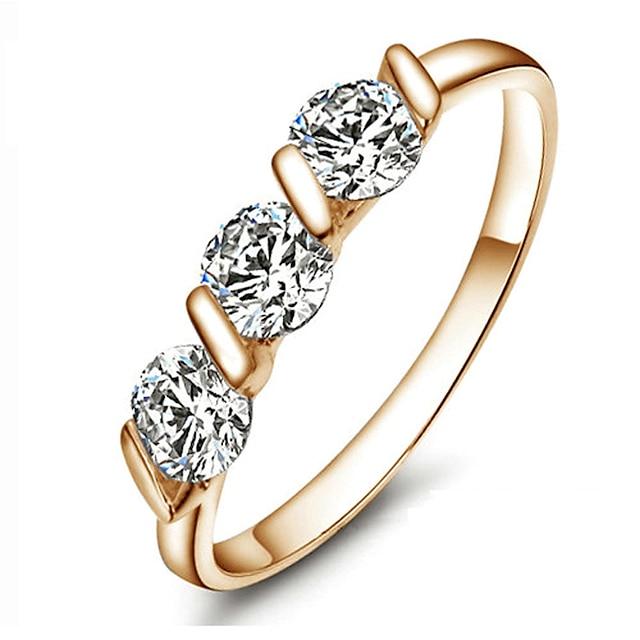 Inel de declarație Diamant sintetic Rundă Auriu Placat Auriu femei Modă de Mireasă 6 7 8 9 / Pentru femei / Cristal
