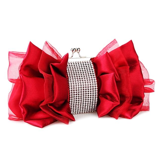 Femme Sacs Satin Pochette Fermeture Soirée Soirée / Fête Sac de soirée Sacs de mariage Sacs à Main Amande Noir Rouge Fuchsia