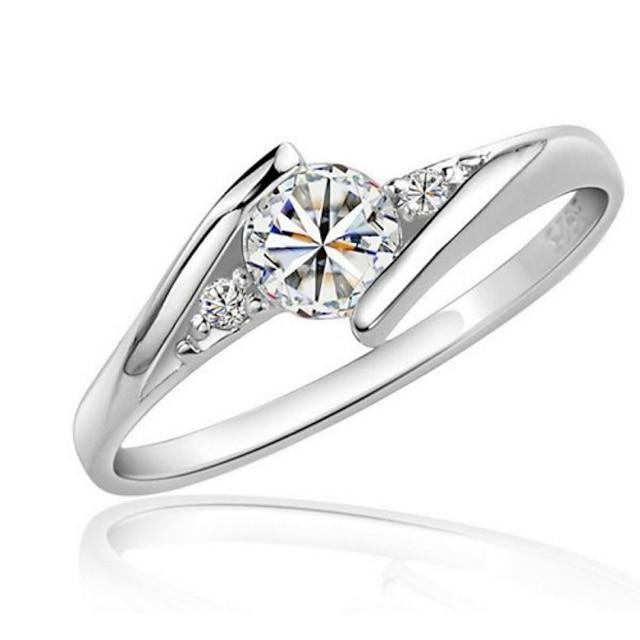 Bandring Synthetische Diamant patiencespel Zilver Zirkonia Kubieke Zirkonia Platina Verguld Liefde Uitspraak Dames Elegant 1 stuk 4 5 6 7 8 / Ring