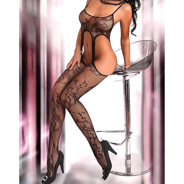 Per donna Taglia grossa Giarrettiere e reggicalze Body Tinta unita Signora sexy Nero Grande taglia Taglia unica