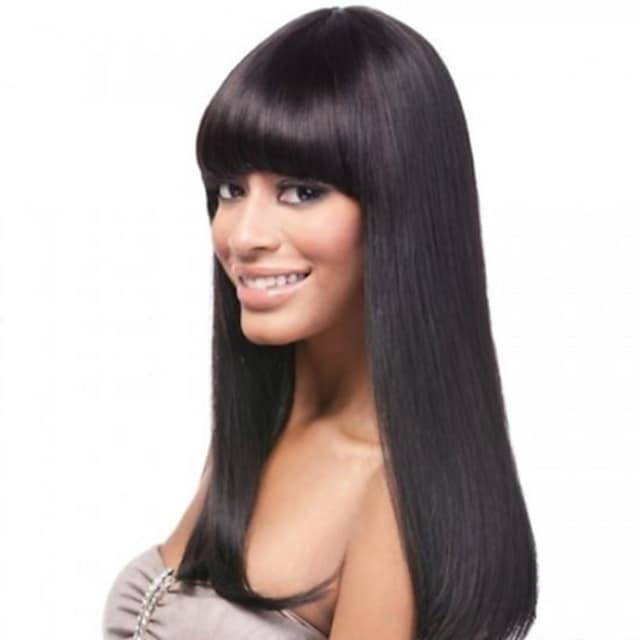 16inch neat bang 100 indian human hair silky straight glueless front lace wig for black women