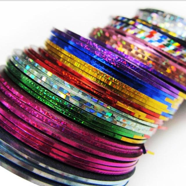 24 pcs Kreativ Klistermærker Nail Foil Striping Tape Til Fingernegl Stribet Negle kunst Manicure Pedicure Daglig Chic & Moderne / Mode / Folie Stripping Tape