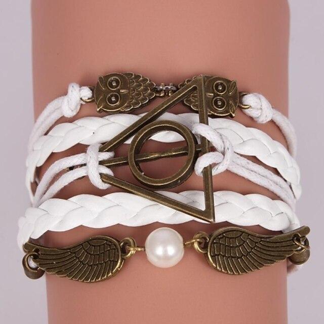 Pentru femei Brățară Wrap Bratari din piele Bufniţă Inspirațional Piele Bijuterii brățară Alb / Maro Pentru Cadouri de Crăciun Petrecere Casual Zilnic