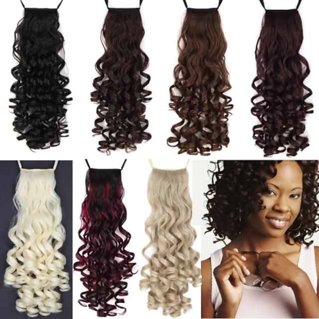 coadă de păr bucată de păr buclă clasică păr sintetic 22 inch lungime medie păr extensie zilnică