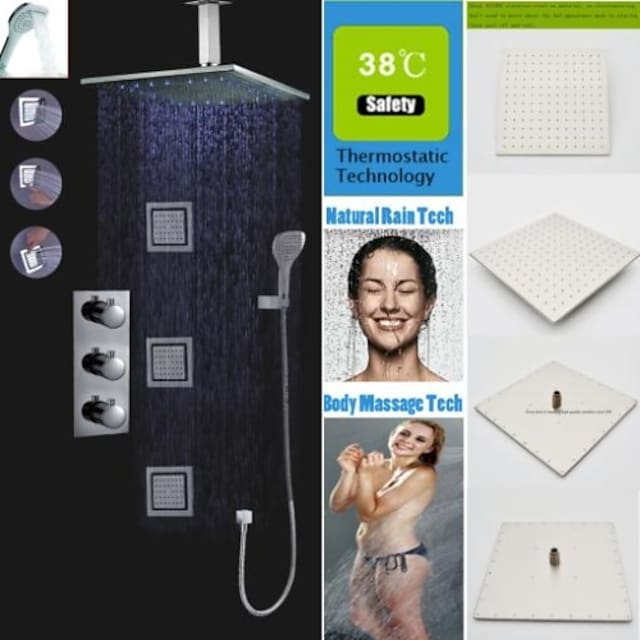 Βρύση Ντουζιέρας Σειρά - Περιλαμβάνεται Τηλέφωνο Ντουζιέρας Θερμοστατικό LED Σύγχρονο Χρώμιο Επιτοίχιες Βαλβίδα Ορείχαλκου Bath Shower Mixer Taps / Ορείχαλκος