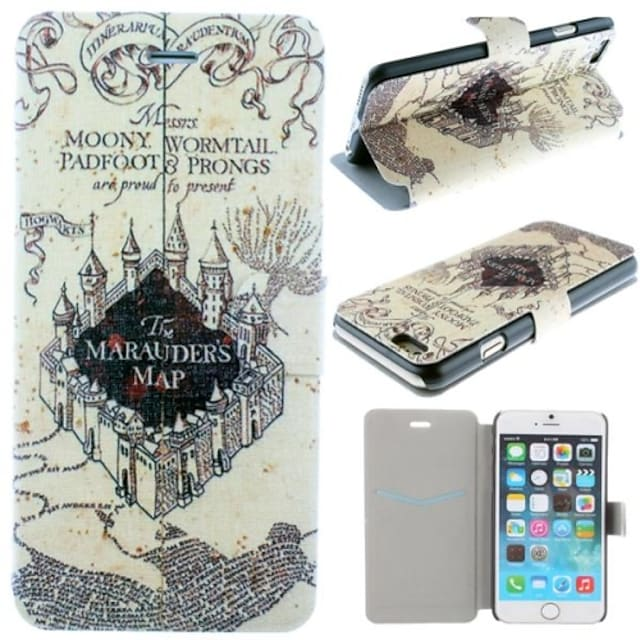 Marauder's Map Harry Potter Movie Series Pattern PU Leather Full Body Cover with Card Slot for iPhone 6