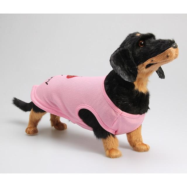 Câine Tricou Haine pentru catelus Literă & Număr Casul / Zilnic Îmbrăcăminte Câini Haine pentru catelus Ținute pentru câini Roz Costum pentru fată și câine băiat Bumbac XXS XS S M L