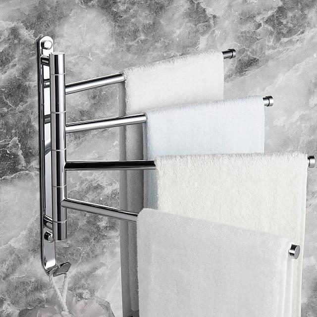 ราวแขวนผ้าติดผนังราวแขวนผ้าห้องน้ำแบบทองเหลืองหมุนได้พร้อมตะขอและ 4 ดอกเหมาะสำหรับห้องน้ำ