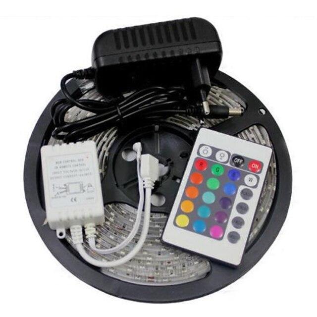 ZDM® 5m Fâșii De Becuri LEd Flexibile Bare De Becuri LED Rigide Fâșii RGB 300 LED-uri SMD 2835 8mm 1 Controler la distanță de 24 de taste Adaptor de alimentare de 1 x 2A 1set RGB Rezistent la apă Ce