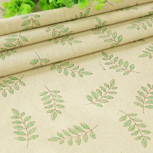 Qihang 50*50cm Linen Cloth Photography Background/Wallpaper Paper with Green Leaf