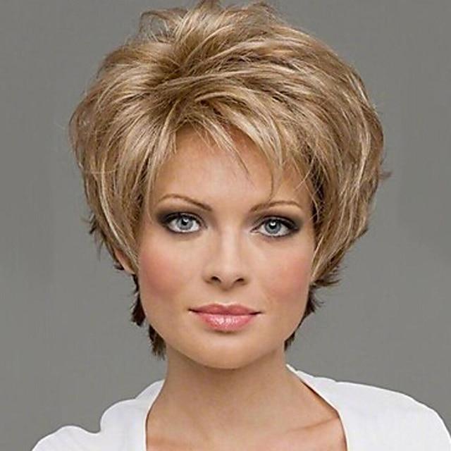 Peruci Sintetice Buclat Buclat Perucă Blond alb Păr Sintetic 10 inch Pentru femei Blond