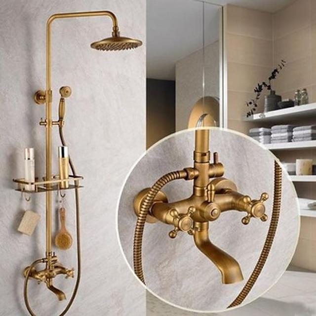 Système de douche Ensemble Antique Laiton Antique Soupape céramique Bath Shower Mixer Taps / 2 poignées / Oui / Oui / Oui / Oui