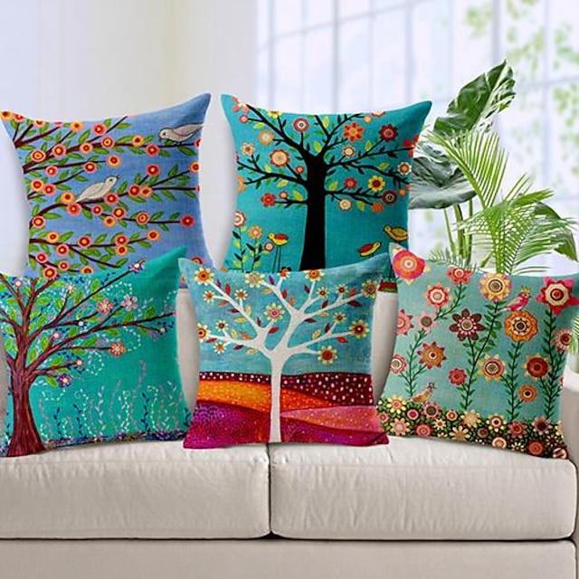 set di 5 federe per cuscino copricuscino stile pittura a olio pastrol casa divano finto lino cuscino per divano divano letto poltrona