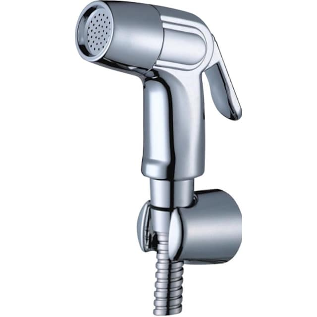 Multifunction Bidet Faucet with Holder Chrome Toilet Handheld Bidet Sprayer Self-Cleaning Contemporary Silvery